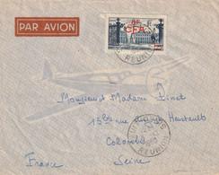 Lettre Par Avion Nancy Place Stanislas Surchargé  8F CFA  Saint Denis  Pour Colombes Seine 1950 - Covers & Documents