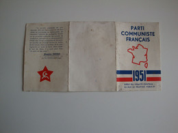 Carte Du Parti Communiste Français,1951,extrait Des Statuts,section De Vichy Avec Les Timbres - Non Classificati