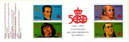Spain 1991 Discovery Of America Unfolded Stamp Booklet 2105.1071 De La Vega, Pope Alexander VI, Santangel, De Parades - 1991-00 Nuevos & Fijasellos