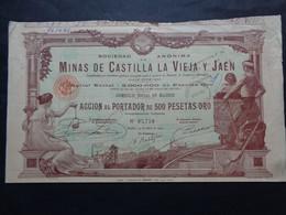 ESPAGNE - MADRID 1902 - MINAS DE CASTILLA LA VIEJA Y JAEN - ACTION DE 500 PESETAS OR - - Unclassified