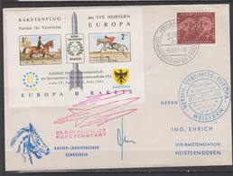 Raketenpost 25.6.61 Achener Reitturnier Brief Vignette Europa-Rakete SSt AACHEN - Covers & Documents