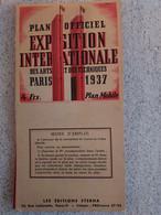 PLAN OFFICIEL EXPOSITION INTERNATIONALE Des ARTS Et Des TECHNIQUES PARIS 1937 AVEC CURSEUR - Altri