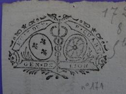 """1726 Généralité De LYON Papier Timbre N°171 De """"HUIT DEN. P.QUART"""" Quart De Feuille - Seals Of Generality"""