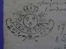 """1730 Généralité De LYON Papier Timbre N°181 De """"HUIT DEN."""" Quart De Feuille Vigneron D'AMBIERLE (Loire) - Seals Of Generality"""