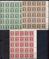 Canada 1937-38 KG6 1c, 2c & 3c In U/m Corner Blocks Of 25, SG 357-9 - Nuevos