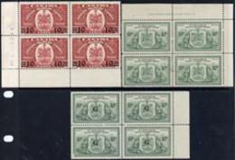 Canada 1939 10c/20c & 1946 10c Spec Del In Imprint Corner Blocks Of 4 Plus 1950 10c Opt'd 'G' In Block Of 4 - Nuevos