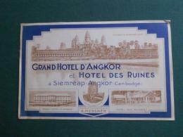 PUBLICITE ETIQUETTE GRAND HOTEL D ANGKOR ET HOTEL  DES RUINES CAMBODGE A SIEMREAP ANGKOR TTB ETAT - Pubblicitari
