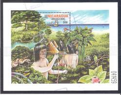Nicaragua 2002- 1 Hojita Bloque Usada- V Centenario Del Descubrimiento De Nicaragua Por Colón - Nicaragua