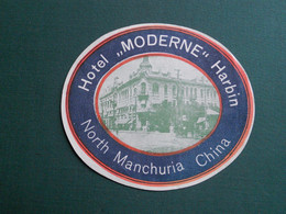 PUBLICITE ETIQUETTE HOTEL MODERN HARBIN NORTH MANCHURIA CHINE TTB ETAT - Pubblicitari