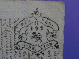 """1741 Généralité De LYON Papier Timbre N°192 De """"DIX DEN."""" Benoit Laurent Meunier Au Moulin De Ségny (Ain) - Seals Of Generality"""
