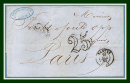 LAC NANTES (40) Type 15 1853 + T 25 > Amb.  Nantes A Paris Camille Fils - 1849-1876: Klassieke Periode