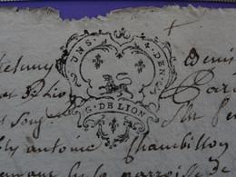 """1742 Généralité De LYON Papier Timbre N°203 De """"UN S. 4D DEN."""" Antoine Chambillon Laboureur Saint-Romain-de-Popey Rhône - Seals Of Generality"""