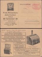 Germany - Infla. Werbepostkarte, 'Ernst Wolzenburg, Vertreter Der Elektroindustrie'. Köln 16.10.1923 - Hermülheim. - Infla