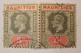 Ile Maurice (mauritius) - George V 5C  Paire Horizontale - Oblitéré - Mauricio (1968-...)