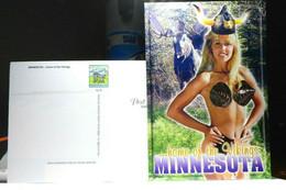 Sexy Girl Minnesota Home Of The Vikings Modern Chrome Continental Postcard - Pin-Ups