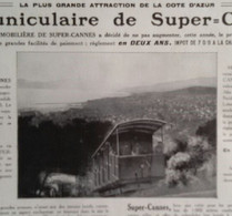 CANNES Le Funiculaire De Super Cannes 1928 - Sin Clasificación