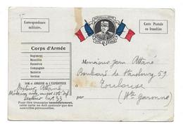 CARTE FRANCHISE MILITAIRE . DRAPEAU . JOFFRE .VIVE LA FRANCE . CARTE FM 106e INFANTERIE => TOULOUSE  ( Mr ATTANE ) - Lettere In Franchigia Militare