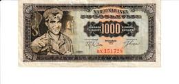 Yugoslavia P.75 1000 Dinar  1963 Vf - Yugoslavia