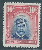 Southern Rhodesia, GVR, Admiral, 1924, 10d,  MH * - Southern Rhodesia (...-1964)