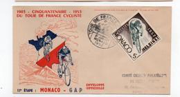 CYCLISME   TOUR DE FRANCE 1953 CARTE PHILATELIQUE ETAPE  MONACO GAP - Cycling