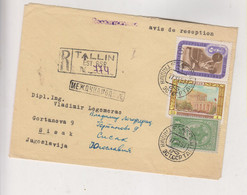 RUSSIA USSR 1957 TALLIN Nice Registered Cover To Yugoslavia - Cartas