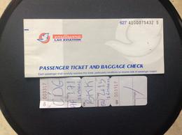 LAO AVIATION Billet De Passage Bulletin De Bagages  Passenger Ticket And Baggage Check VIENTIANE-BANGKOK - Tickets