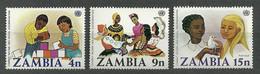 Zambia, 1977 (#186-88a), Combat, Racial Discrimination, UNO Emblem, Girls, Boys, Dove, Folk Costumes - 3v - Costumes