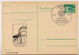 DDR P84-5-85 C109 Postkarte Zudruck BACHDENKMAL ESPERANTO Leipzig Sost. 1985 - Privatpostkarten - Gebraucht