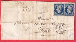 N°14 X2 BLEU FONCE PC 2527 PONTARLIER DOUBS POUR DOLE JURA - 1849-1876: Klassik