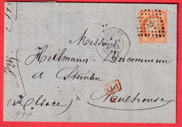 N°38 PC DU GC 420 BELFORT HAUT RHIN MULHOUSE ALSACE LORRAINE ALLEMAGNE BELLE ETIQUETTE PUBLICITAIRE AU DOS - 1849-1876: Classic Period