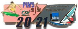 PUZZLE DE 2 PIN'S : 14 éme SALON DU PIN'S WARMERIVILLE 2021 - SURF - PLANCHE A VOILE - RADIO BLEUE - CA - Other