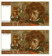 2 Billets Neufs, Sans Perforations Ni Plis - 10 F 1972-1978 ''Berlioz''