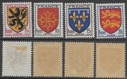 Francia France 1944 Coat Of Arms Armoiries YT N.602-605 Complete Set MNH/MH */** - 1941-66 Wapenschilden