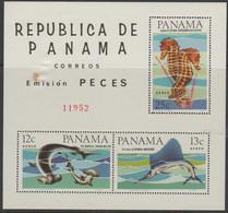 10/5 PANAMA - 1965 Fish Souvenir Sheet. (Tone Spot). Scott C340-42. Mint - Panama