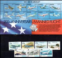 T1-14 Samoa N° 814 à 817 + 823 à 825 + BF 30  ** A Saisir !!!  Avions - Samoa