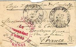 1898- Petite Enveloppe De PURSAT / CAMBODGE + CORPS EXPED.re  + Cachet Rouge DE PURSAT ,le Cdt D'Armes - Storia Postale
