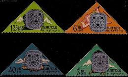 GRENOBLE OLYMPICS-ABOMINABLE SNOWMAN-OVPT-ODD SHAPED-SET OF 4- BHUTAN-MNH-ABHTS-47 - Bhutan