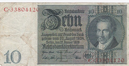 Allemagne - Billet De 10 Reichsmark - A.D. Thaer - 22 Janvier 1929 - 10 Mark