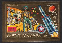 Komoren 1976 - Mi-Nr. 312 B ** - MNH - Ungez / Imp - Gold - Raumfahrt / Space - Komoren (1975-...)