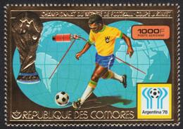 Komoren 1978 - Mi-Nr. 391 A ** - MNH - Gold - Fußball / Soccer - Komoren (1975-...)
