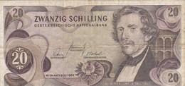 Autriche - Billet De 20 Schilling - Carl Ritter Von Ghega  - 2 Juillet 1967 - P142a - Austria
