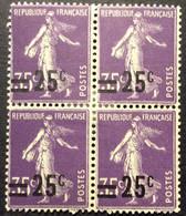 218 * Bloc De 4  Semeuse Surcharge 25c Sur 35c Violet Neuf * - Nuevos