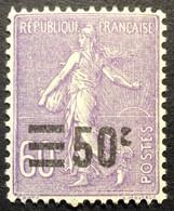 223 * Variété «c» Tronqué Semeuse Surcharge 50c Sur 60c Violet Neuf * - Nuevos