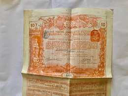 THE  NOTRE  DAME  Des  VICTOIRES  TRANSVAAL  GOLD  MINING  COMPANY ------- Titre  De  10  Actions  D' Une  £ - Bergbau