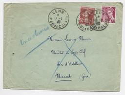 MERCURE 70C + SEMEUSE 30C LETTRE LENS PAS DE CALAIS 13.8.1940 POUR LE GERS +  MENTION INADMIS + RETOUR - Oorlog 1939-45