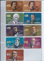 Télécartes > Lot De 9 Telecartes Grandes Figures Des  Telecommunications - Collections