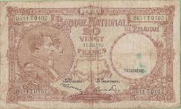 Belgique - Billet De 20 Francs - Albert Ier & Elisabeth - 19 Mai 1947 - P111 - 20 Francs
