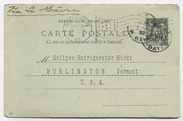 ENTIER SAGE 10C CP PARIS R BAYEN 1899 POUR USA + MECANIQUE DRAPEAU BURLINGTON V.T. - 1877-1920: Semi Modern Period