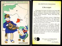 Carton 9 X 14 Les Provinces Françaises AUVERGNE Homme Musicien Vielle Femme Fromage Cantal Publicité Produits Eclipse - Costumes
