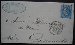 Paris 1865 Etoile 30 Bd Mazas Sur Lettre Du Dépôt Des Forges De Chatillon Et Commentry, Pour Commentry Allier - 1849-1876: Periodo Clásico